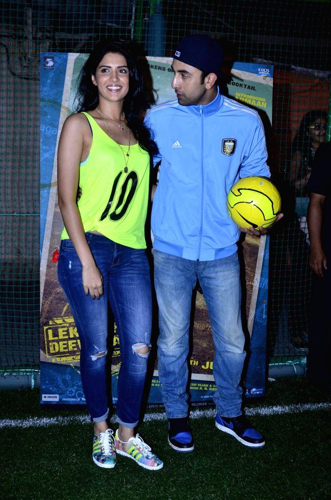 Actors Deeksha Seth and Ranbir Kapoor during the football match organised to promote the upcoming film Lekar Hum Deewana Dil in Mumbai on June 17th, 2014. - Deeksha Seth and Ranbir Kapoor