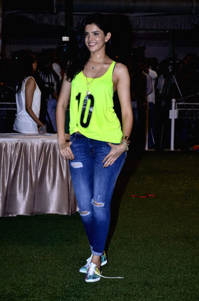 Actors Deeksha Seth during the football match organised to promote the upcoming film Lekar Hum Deewana Dil in Mumbai on June 17th, 2014. - Deeksha Seth