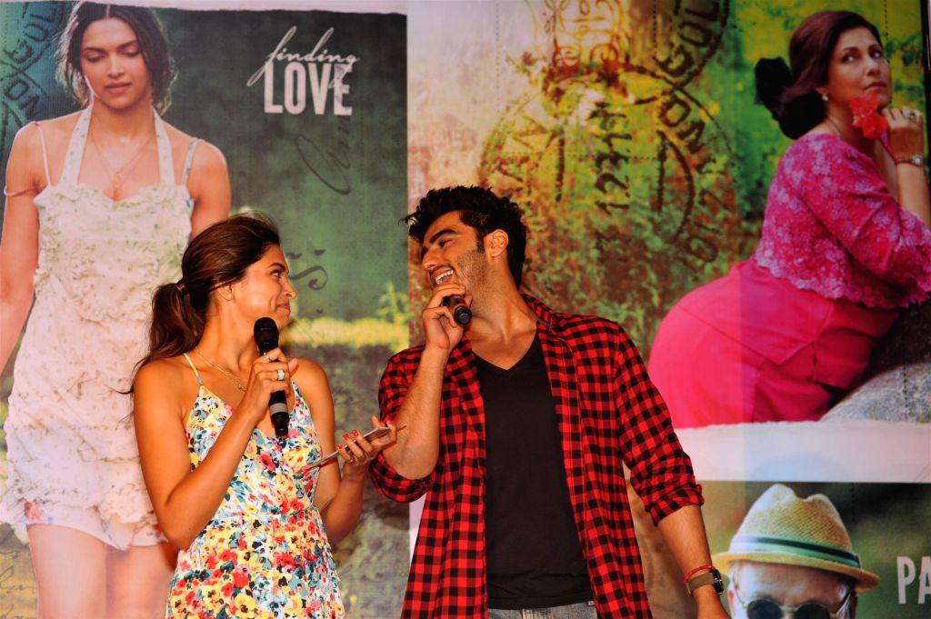Actors Deepika Padukone and Arjun Kapoor during the song launch of film Finding Fanny in Mumbai on August 11, 2014. (IANS: Photo) - Deepika Padukone and Arjun Kapoor