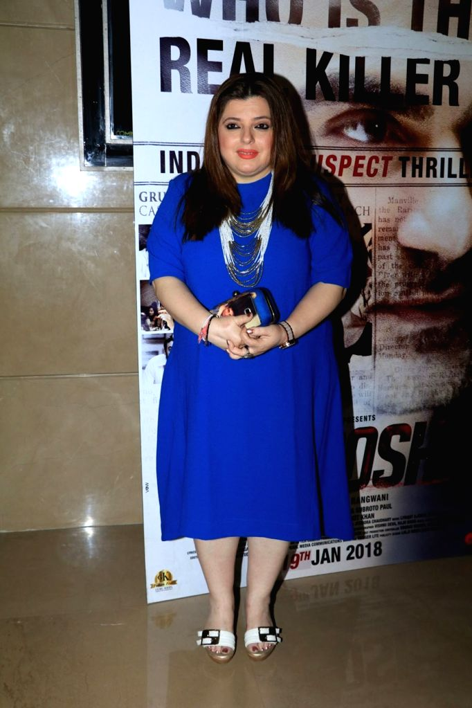 "Actors Delnaaz Irani at the special screening of film ""Nirdosh"" in Mumbai on Jan 18, 2018. - Delnaaz Irani"