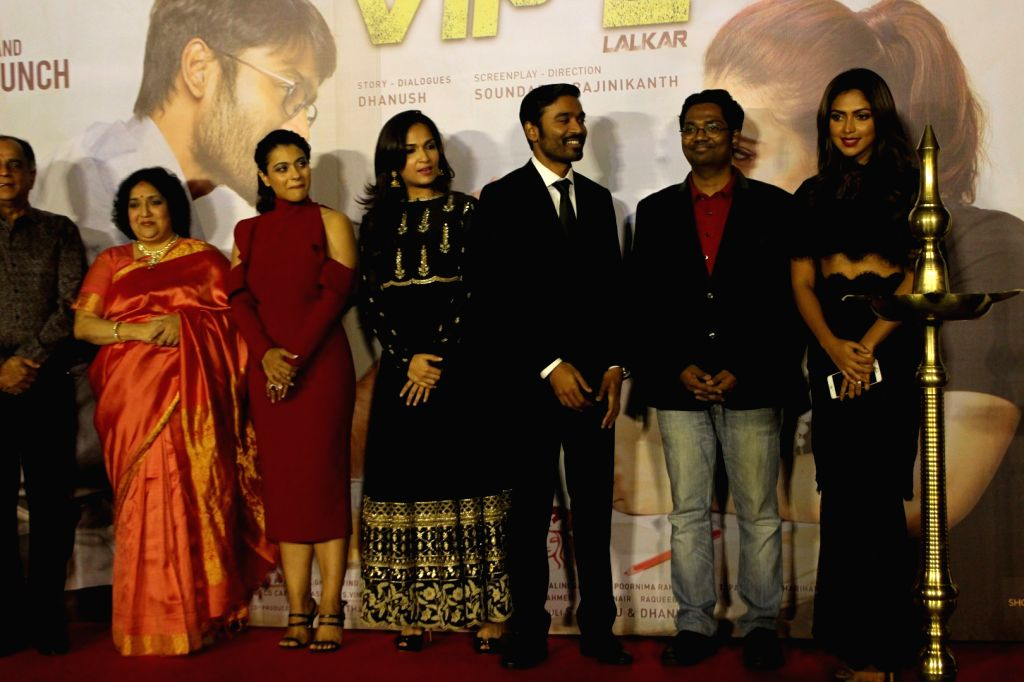 Actors Dhanush and Kajol during the music launch of film VIP 2 in Mumbai, on June 25, 2017. - Dhanush and Kajol