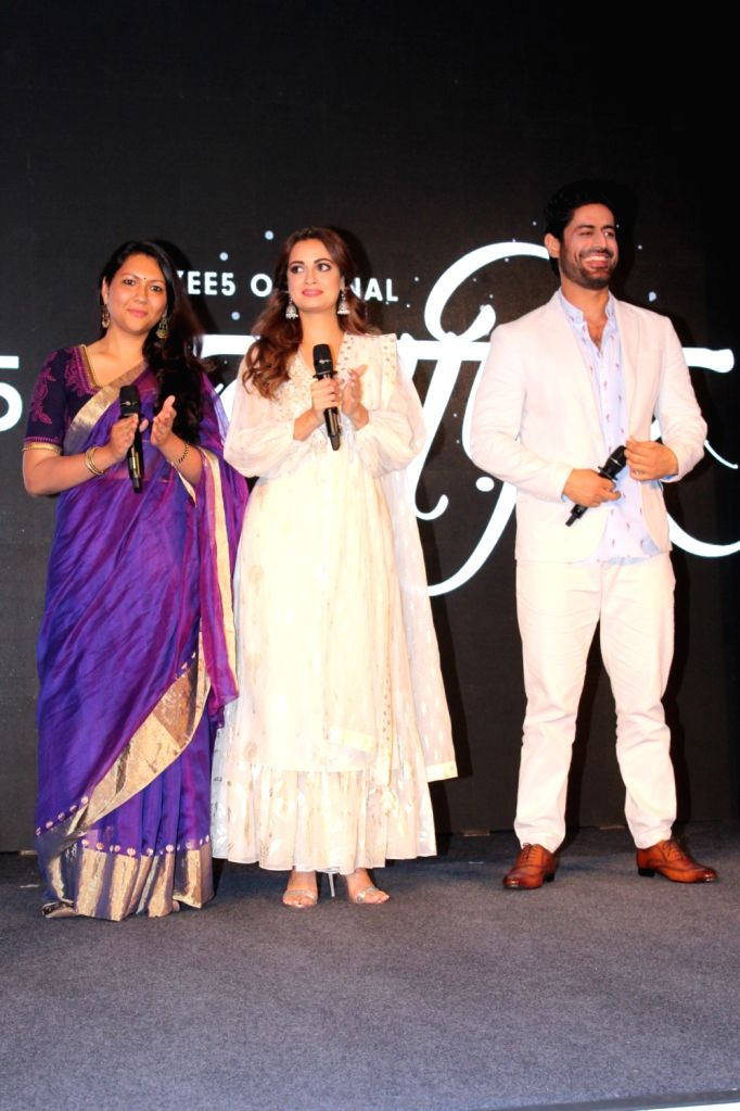 """Actors Dia Mirza and Mohit Raina and director Sonam Nair at a press conference of their upcoming webshow """"Kaafir"""" by Zee5, in Mumbai on June 6, 2019. - Sonam Nair, Dia Mirza and Mohit Raina"""