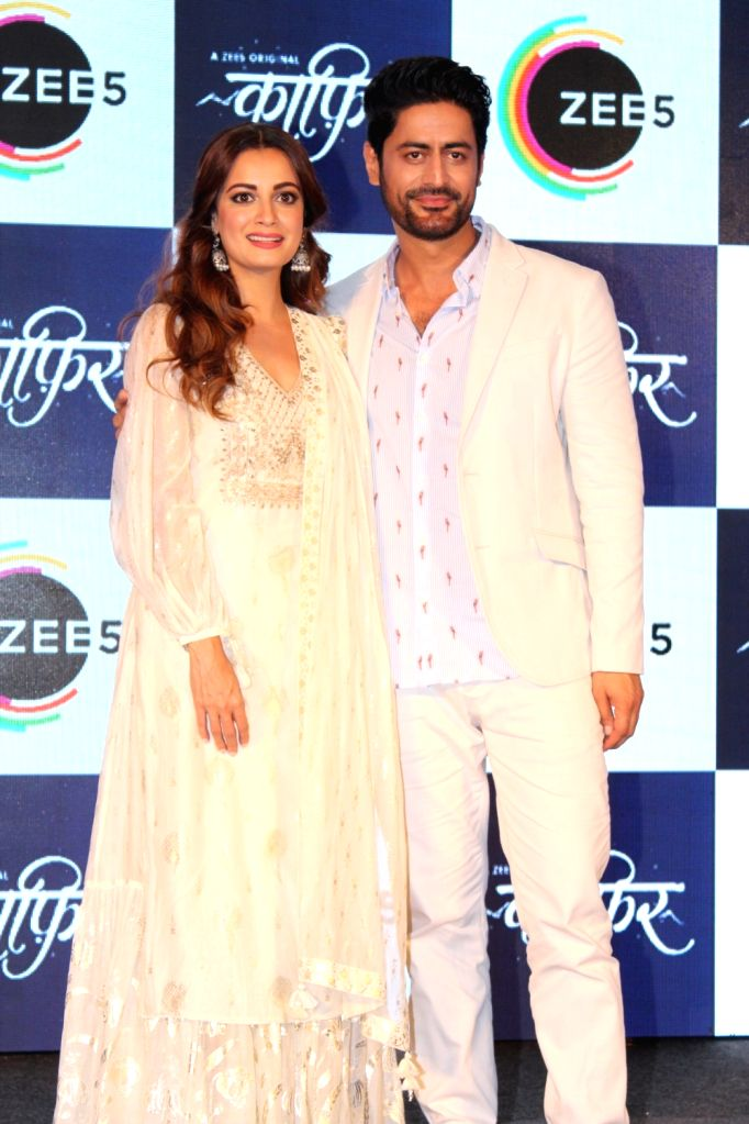 "Actors Dia Mirza and Mohit Raina at a press conference of their upcoming webshow ""Kaafir"" by Zee5, in Mumbai on June 6, 2019. - Dia Mirza and Mohit Raina"