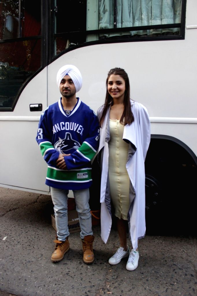 Actors Diljit Dosanjh and Anushka Sharma during promotion of film Phillauri in Mumbai on March 7, 2017. - Diljit Dosanjh and Anushka Sharma
