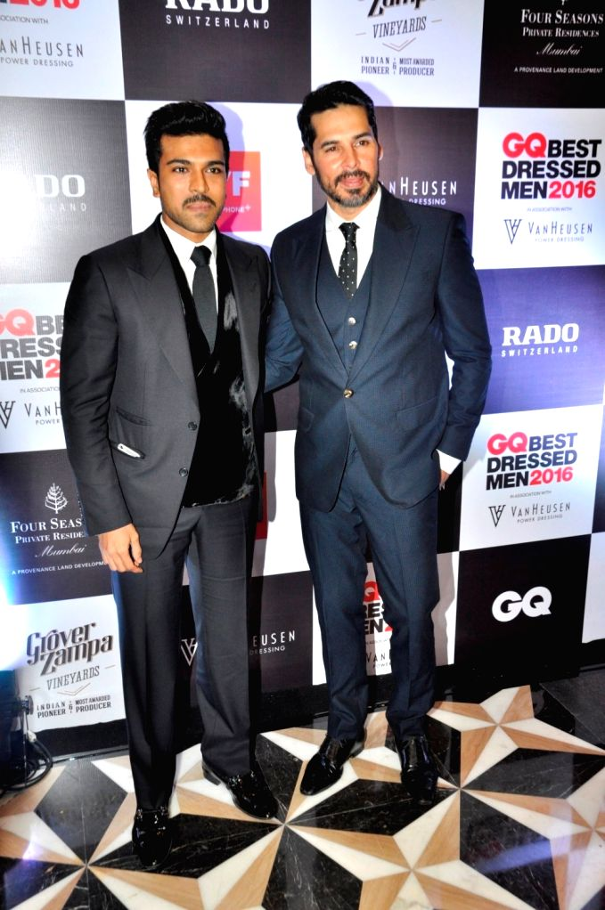 Actors Dino Morea and Ram Charan during GQ Best Dressed Men 2016 Awards, in Mumbai, on June 2, 2016. - Dino Morea and Ram Charan