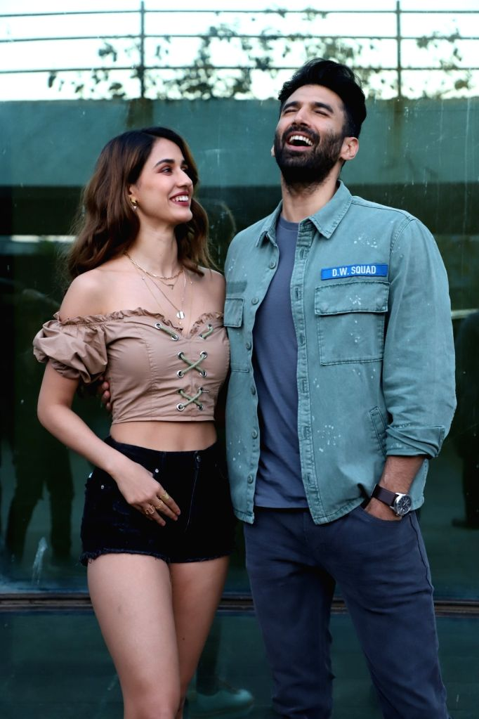 Actors Disha Patani and Aditya Roy Kapur seen at the office of Luv Films, in Mumbai on Feb 4, 2020. - Disha Patani and Aditya Roy Kapur