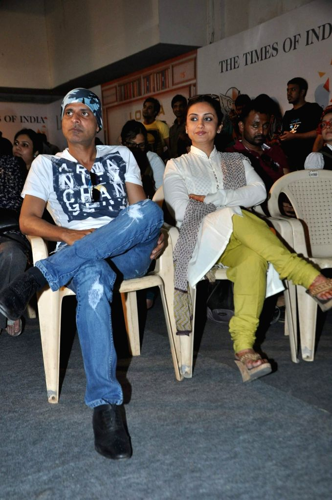 Actors Divya Dutta and Manoj Bajpai during Neeraj's book launch Ghalib Danger at the Literary Carnival, a festival for author, film-makers, lyricists, foodies, fitness experts, money guru and ... - Divya Dutta and Manoj Bajpai