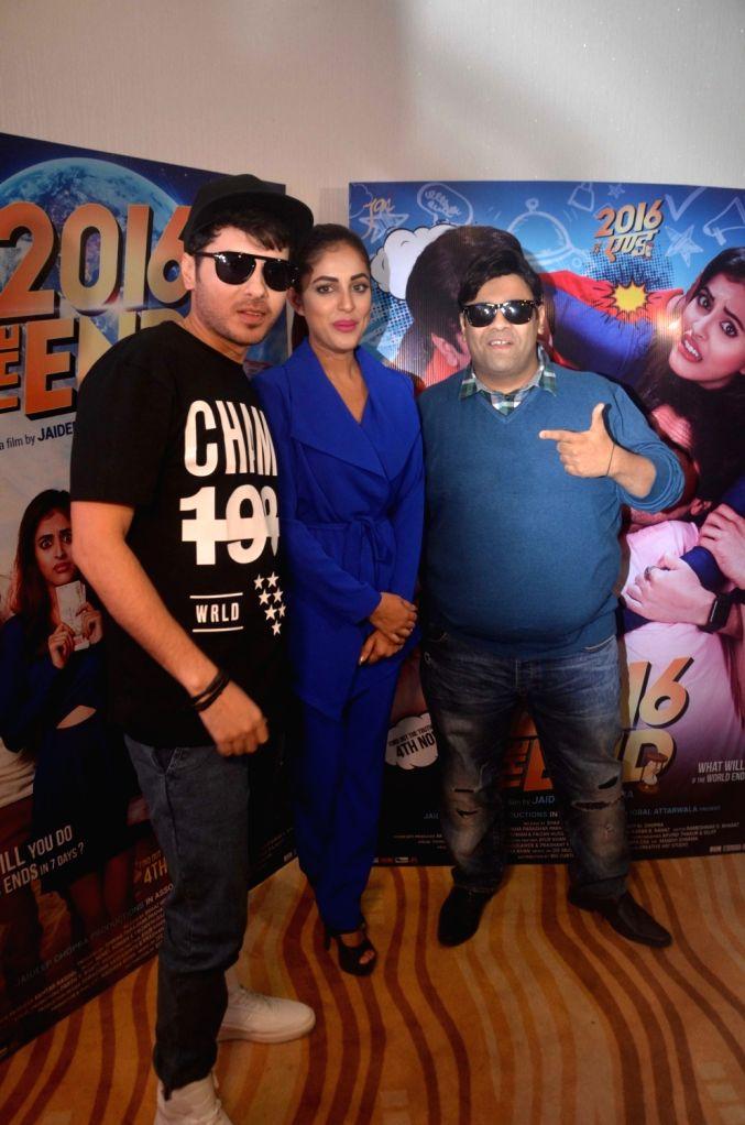 Actors Divyendu Sharma, Priya Banerjee and Kiku Sharda during the trailer launch of film 2016 The End in Mumbai on Oct 6, 2016. - Divyendu Sharma, Priya Banerjee and Kiku Sharda