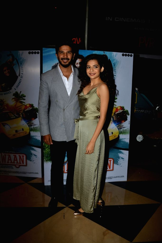 """Actors Dulquer Salmaan and Mithila Palkar at the special screening of their upcoming film """"Karwaan"""", in Mumbai on Aug 2, 2018. - Dulquer Salmaan and Mithila Palkar"""