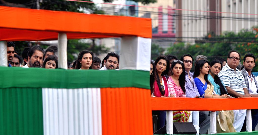 Actors during Martyr's day (Shaheed Diwas) celebrations in Kolkata on July 21, 2014. Martyr's day is celebrated by Trinamool Congress  every year on 21st July.