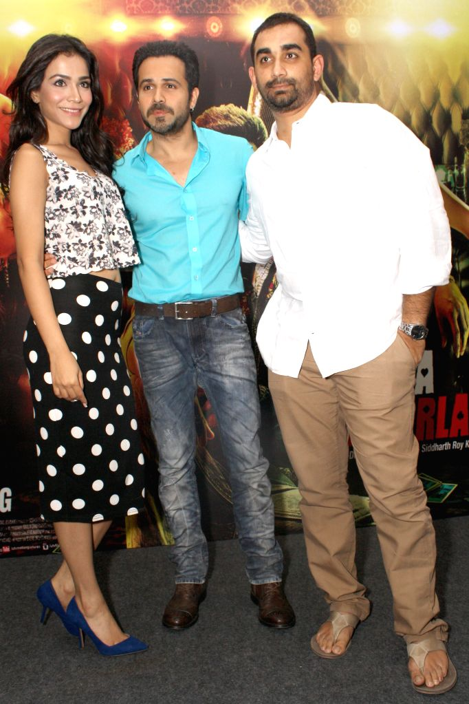 Actors Emraan Hashmi and Humaima Malik during a press conference to promote their upcoming film Raja Natwarlal in New Delhi on Aug 28, 2014. - Emraan Hashmi and Humaima Malik