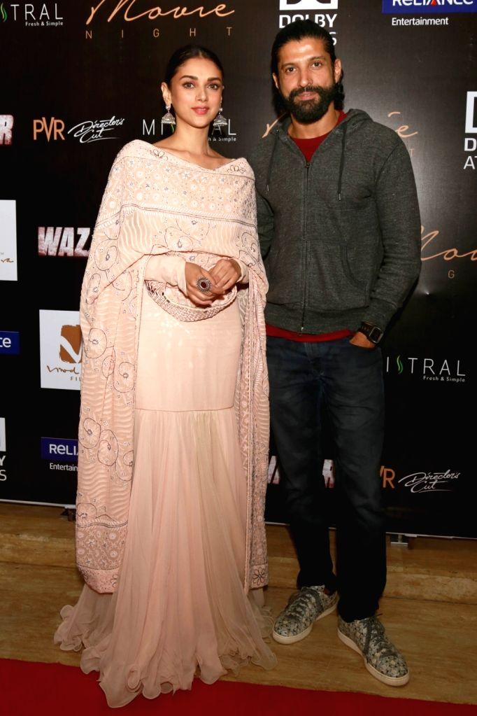 Actors Farhan Akhtar and Aditi Rao Hydari during a press conference to promote their upcoming film `Wazir`, in New Delhi, on Jan 5 ,2016. - Farhan Akhtar and Aditi Rao Hydari