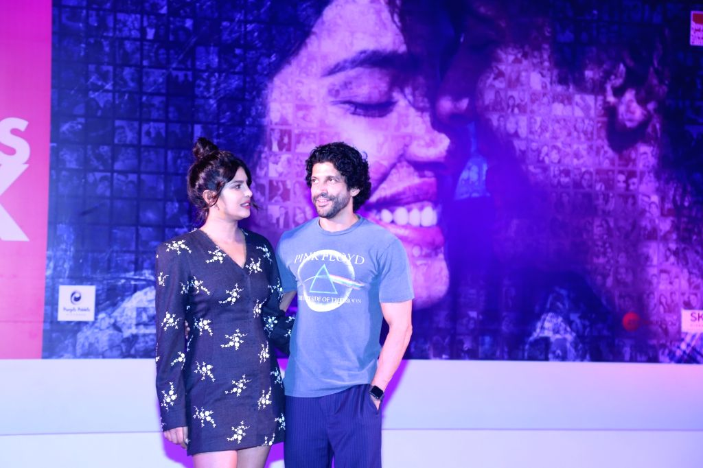 "Actors Farhan Akhtar and Priyanka Chopra during the promotions of their upcoming film ""The Sky Is Pink"" in Mumbai on Oct 6, 2019. - Farhan Akhtar and Priyanka Chopra"