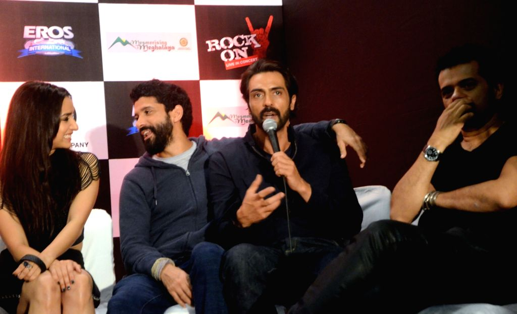 "Actors Farhan Akhtar, Arjun Rampal and Shraddha Kapoor during a press conference for their upcoming film ""Rock On 2"" in Mumbai on Sept 17, 2016. - Farhan Akhtar, Arjun Rampal and Shraddha Kapoor"