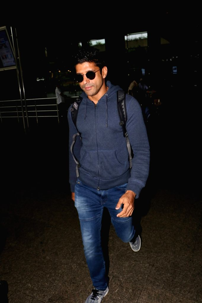 Actors Farhan Akhtar spotted at airport in Mumbai, on Aug 19, 2017. - Farhan Akhtar