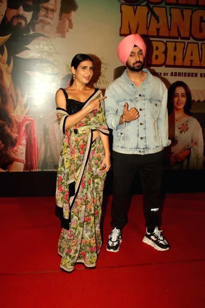 "Actors Fatima Sana Shaikh and Diljit Dosanjh at the special screening of their upcoming film ""Suraj Pe Mangal Bhari"" at Andheri in Mumbai on Nov 12, 2020. - Fatima Sana Shaikh and Diljit Dosanjh"