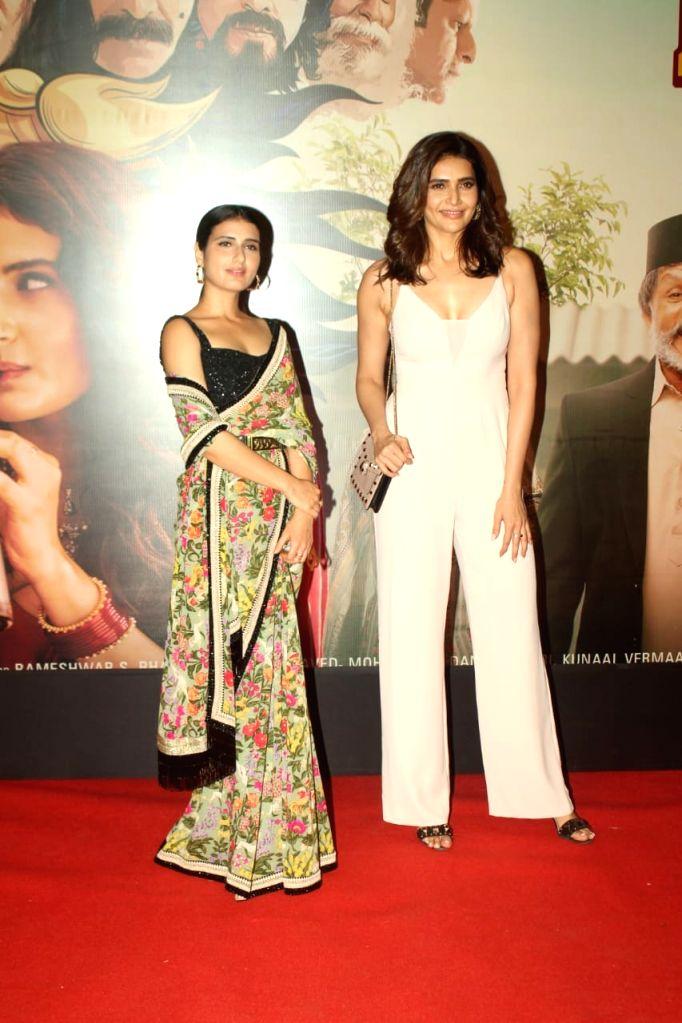 "Actors Fatima Sana Shaikh and Karishma Tanna at the special screening of their upcoming film ""Suraj Pe Mangal Bhari"" at Andheri in Mumbai on Nov 12, 2020. - Fatima Sana Shaikh and Karishma Tanna"