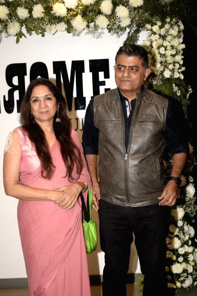 "Actors Gajraj Rao and Neena Gupta at Chrome picture's15th anniversary and ""Badhaai Ho"" success party in Mumbai on Jan. 19, 2019. - Gajraj Rao and Neena Gupta"
