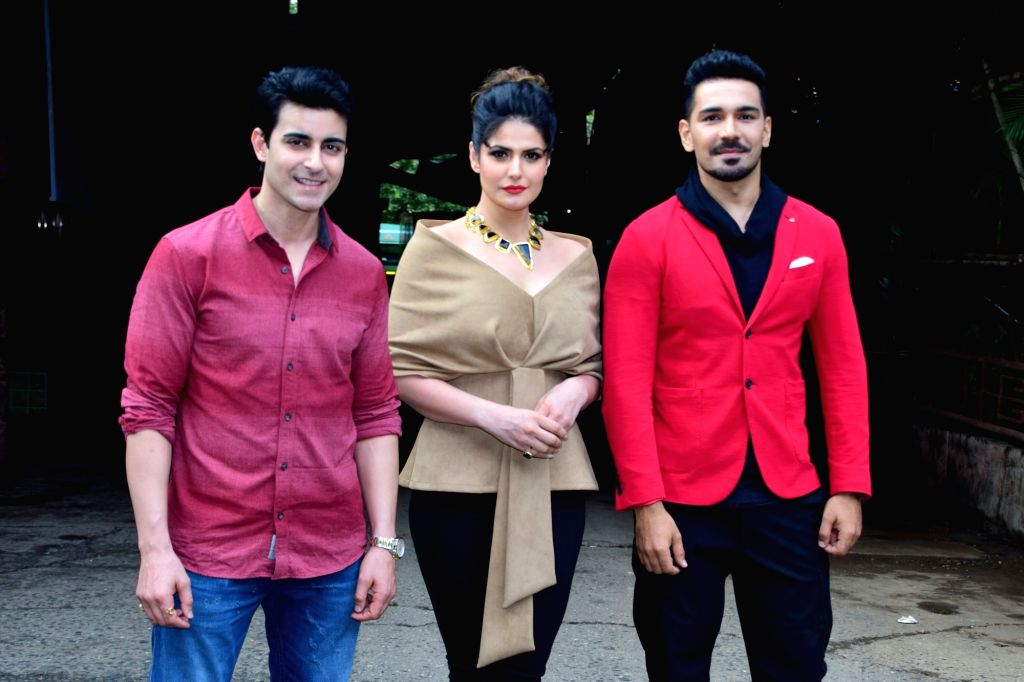 "Actors Gautam Rode, Zarine Khan and Abhinav Shukla during the promotions of their upcoming film ""Aksar 2"" on the sets of television show 'Comedy Dangal' in Mumbai on Sept 17, 2017. - Gautam Rode, Zarine Khan and Abhinav Shukla"