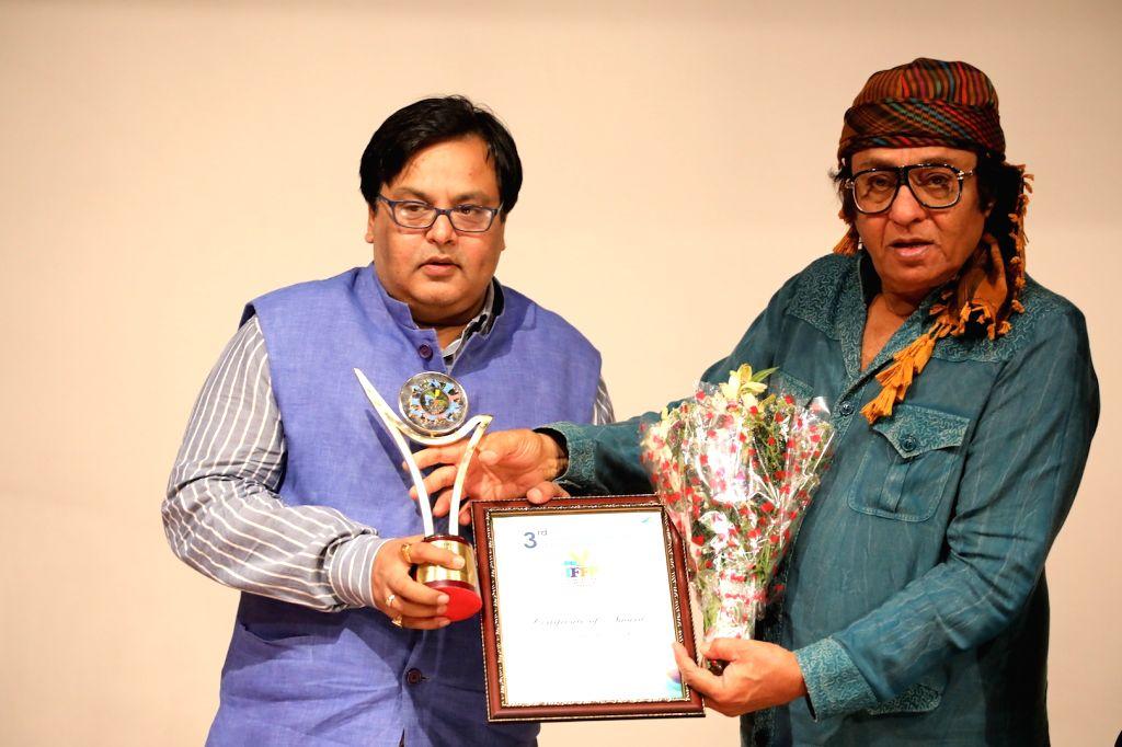 Actors Gourav Diwedi and Ranjit felicitated at 3rd International Film Festival of Prayag in Mumbai on Feb 27, 2017. - Gourav Diwedi and Ranjit