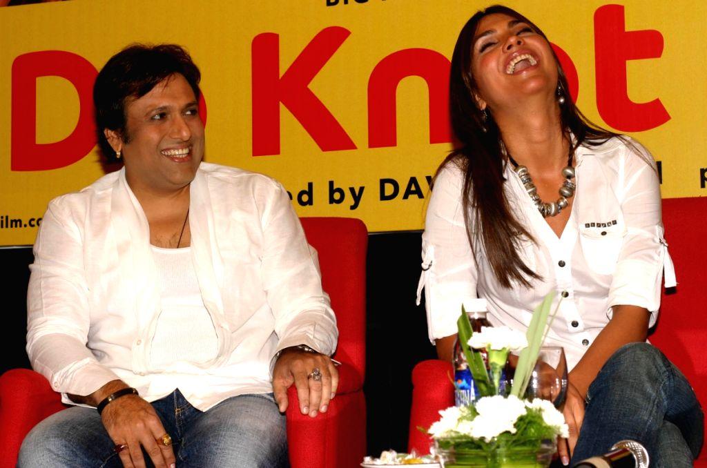 """Actors Govinda and Lara Dutta and Ritesh Deshmukh at a press meet for the film """"Do Knot Disturb"""" in New Delhi on Tuesday 15 Sep 09. - Lara Dutta and Ritesh Deshmukh"""
