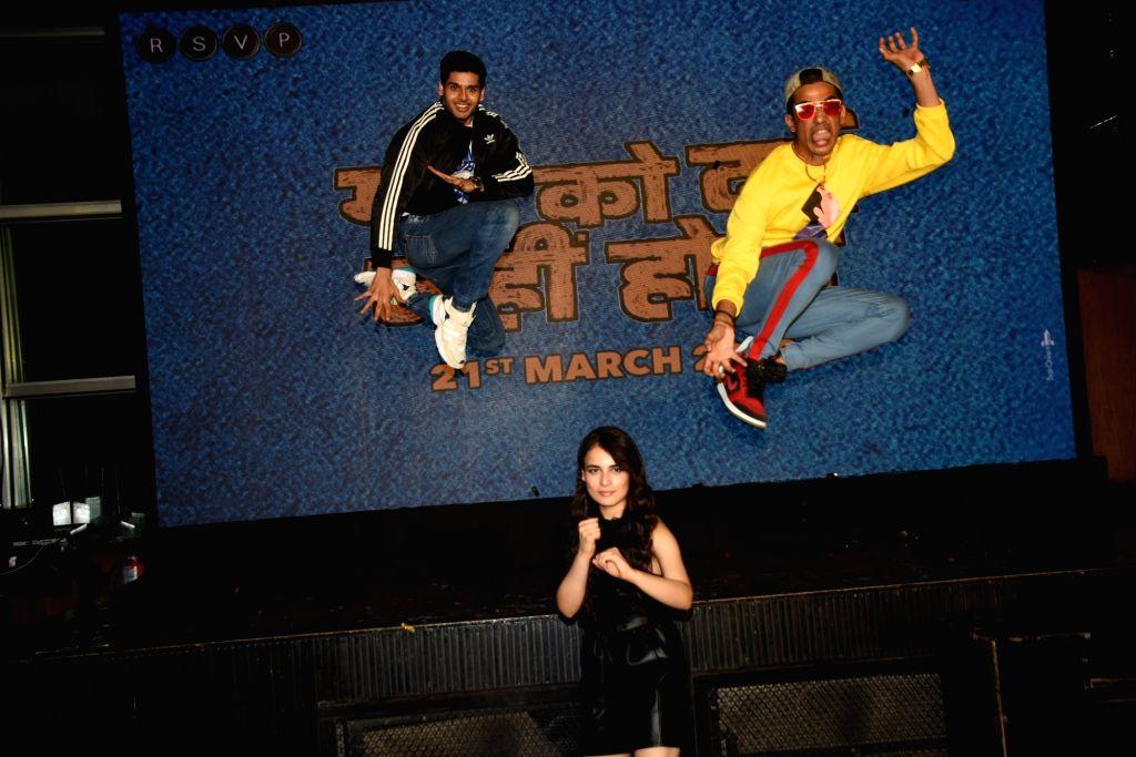 "Actors Gulshan Davaiya, Abhimanyu Dasani and Radhika Madan during the promotions of their film ""Mard Ko Dard Nahi Hota"" in Mumbai on March 13, 2019. - Gulshan Davaiya, Abhimanyu Dasani and Radhika Madan"