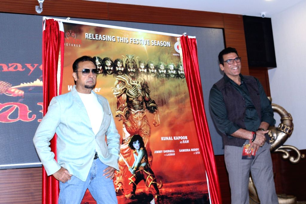 Actors Gulshan Grover and Mukesh Rishi during the trailer and music launch of upcoming 3D Animation film Mahayoddha Rama in Mumbai on Sept. 16, 2016. - Gulshan Grover and Mukesh Rishi
