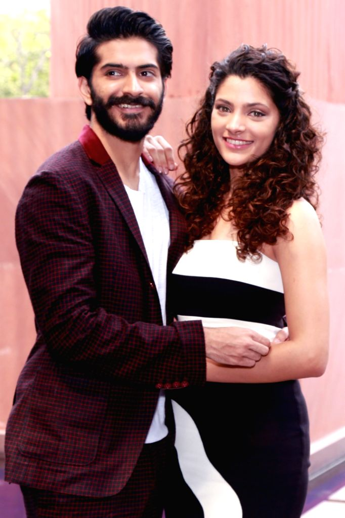Actors Harshvardhan Kapoor and Saiyami Kher during the promotion of their upcoming film 'Mirzya' in New Delhi on Oct 4, 2016. - Harshvardhan Kapoor and Saiyami Kher