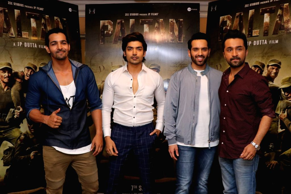 "Actors Harshvardhan Rane, Gurmeet Choudhary, Luv Sinha and Siddhanth Kapoor during the promotion of their upcoming film ""Paltan"" in Mumbai on Aug 10, 2018. - Harshvardhan Rane, Gurmeet Choudhary, Luv Sinha and Siddhanth Kapoor"