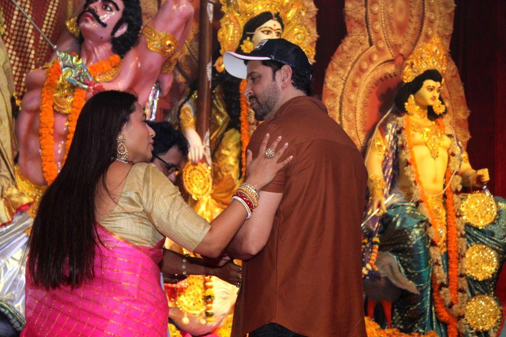 Actors Hrithik Roshan and Rani Mukerji during Durga Navami celebrations at a Juhu Durga Puja pandal in Mumbai on Oct 7, 2019. - Hrithik Roshan and Rani Mukerji