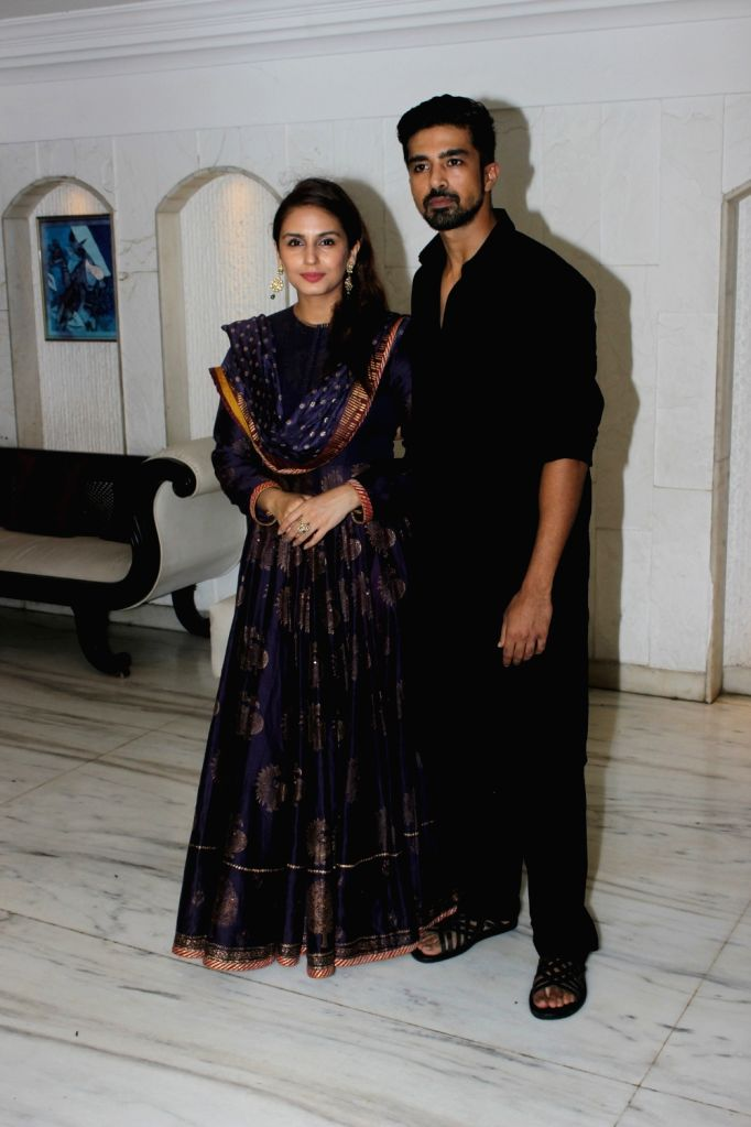 Actors Huma Qureshi and Saqib Saleem  during an Eid party in Mumbai on June 28, 2017. - Huma Qureshi and Saqib Saleem