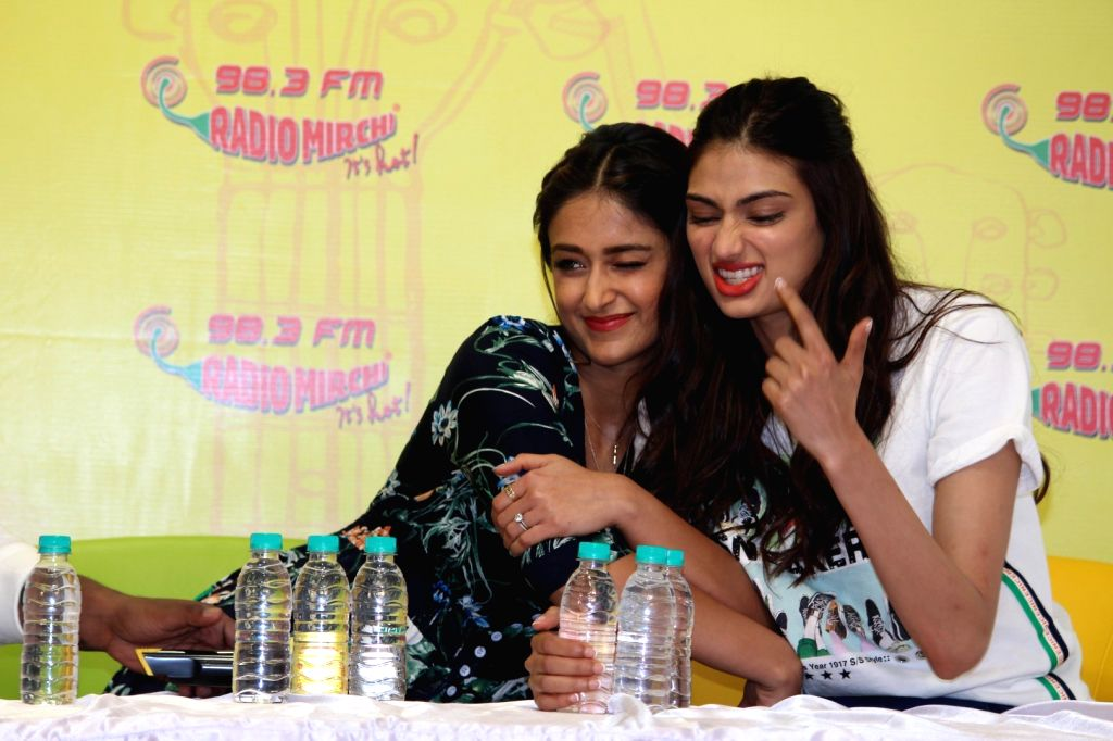 "Actors Ileana D'Cruz and Athiya Shetty during the song launch ""Goggle Pake"" from their upcoming film ""Mubarakan"" at Radio Mirchi Studio in Mumbai on July 7, 2017. - Ileana D'Cruz and Athiya Shetty"