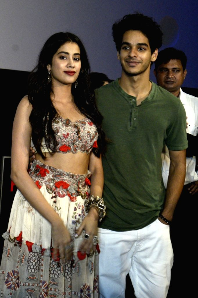 """Actors Ishaan Khattar and Jhanvi Kapoor during promotions of their upcoming film """"Dhadak"""", in Kolkata, on July 13, 2018. - Ishaan Khattar and Jhanvi Kapoor"""