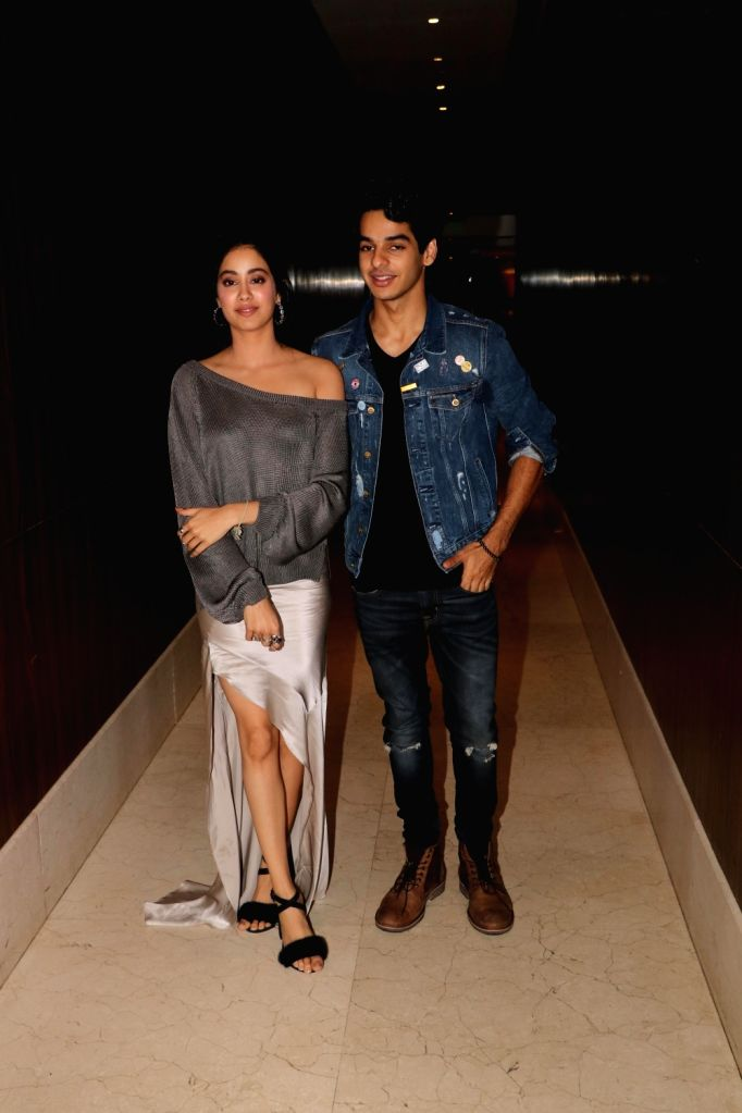 """Actors Ishaan Khattar and Jhanvi Kapoor during promotions of their upcoming film """"Dhadak"""", in Mumbai on July 19, 2018. - Ishaan Khattar and Jhanvi Kapoor"""