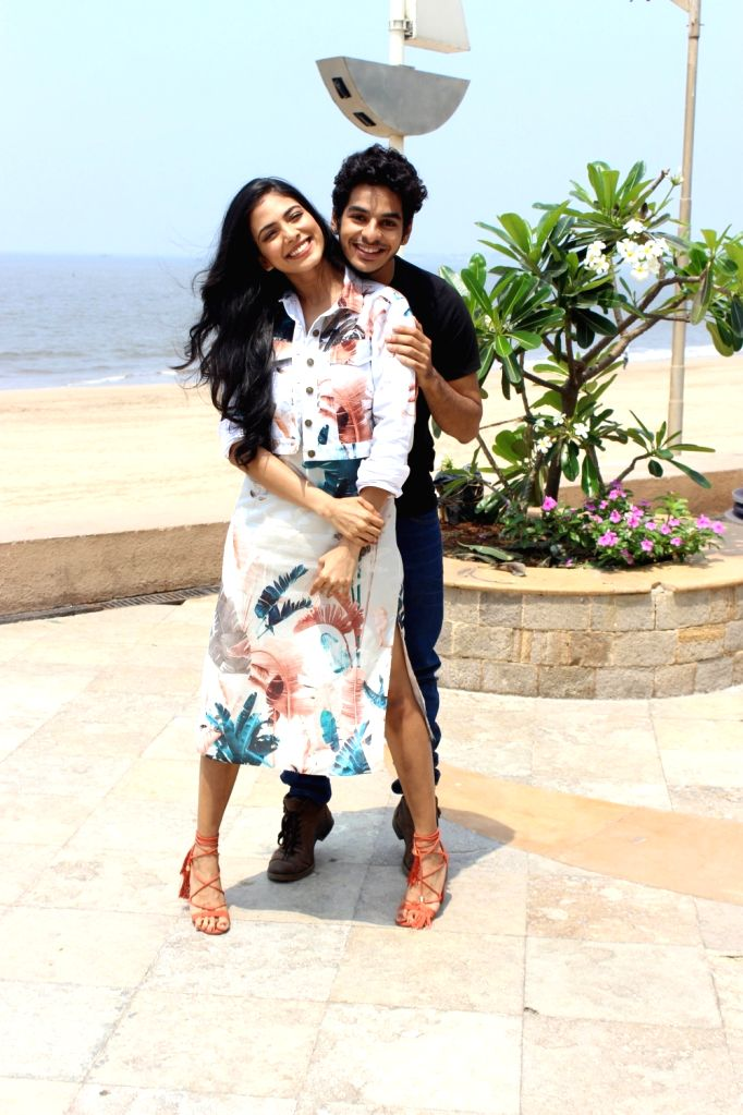 """Actors Ishaan Khattar and Malavika Mohanan during the promotion of their upcoming film """"Beyond The Clouds"""", in Mumbai on March 28, 2018. - Ishaan Khattar and Malavika Mohanan"""
