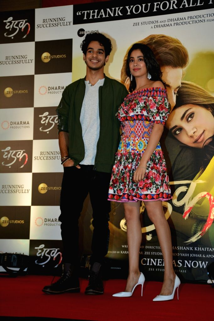 "Actors Ishaan Khatter and Janhvi Kapoor during the success meet of their film ""Dhadak"" in Mumbai on July 26, 2018. - Ishaan Khatter and Janhvi Kapoor"