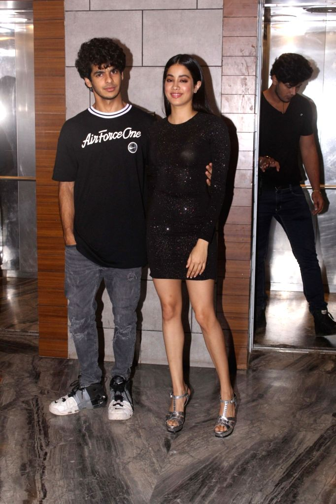 "Actors Ishaan Khatter and Janhvi Kapoor during the success party of their film ""Dhadak"" in Mumbai on Aug 9, 2018. - Ishaan Khatter and Janhvi Kapoor"