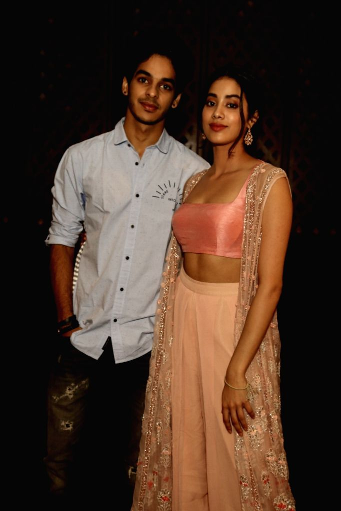 """Actors Ishaan Khatter and Janhvi Kapoor during a press meet of their upcoming film """"Dhadak"""" in New Delhi on July 18, 2018. - Ishaan Khatter and Janhvi Kapoor"""