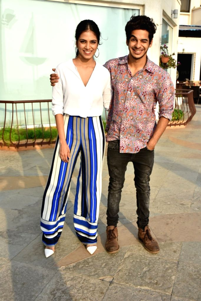 "Actors Ishaan Khatter and Malavika Mohanan at the promotion of their upcoming film ""Beyond the Clouds"" in Mumbai on April 3, 2018. - Ishaan Khatter and Malavika Mohanan"