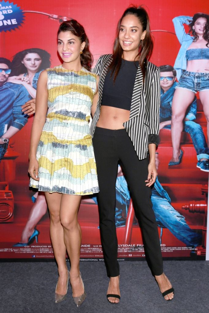 Actors Jacqueline Fernandez and Lisa Haydon during a promotional event of their upcoming film `Housefull 3` in New Delhi on May 25, 2016. - Jacqueline Fernandez and Lisa Haydon
