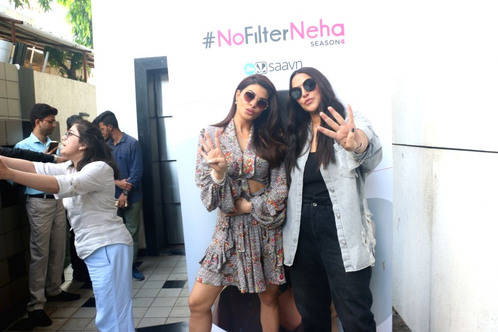 "Actors Jacqueline Fernandez and Neha Dhupia on the sets of the later's chat show ""#NoFilterNeha"" in Mumbai on Nov 11, 2019. - Jacqueline Fernandez and Neha Dhupia"