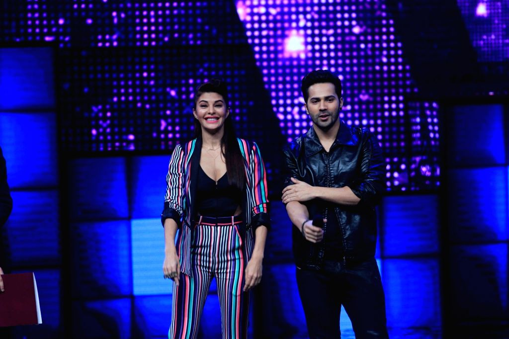 Actors Jacqueline Fernandez and Varun Dhawan on the sets of Star Plus dance reality show Dance + (Dance Plus) season 2, to promote upcoming film Dishoom in Mumbai on July 11, 2016. - Jacqueline Fernandez and Varun Dhawan