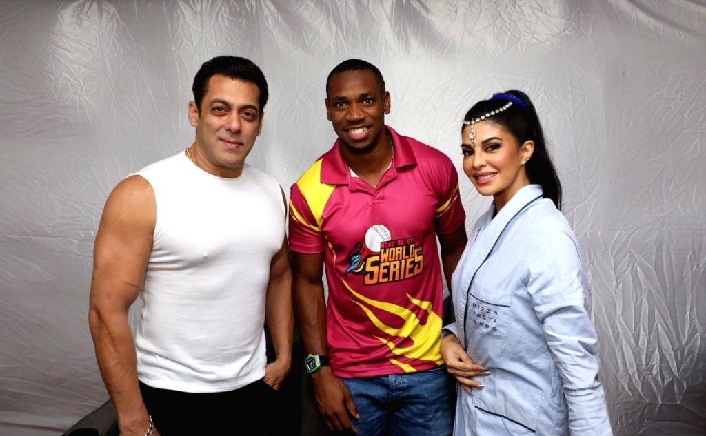 Actors Jacqueline Fernandez, Salman Khan and Jamaican sprinter Yohan Blake. - Jacqueline Fernandez, Salman Khan and Jamaican