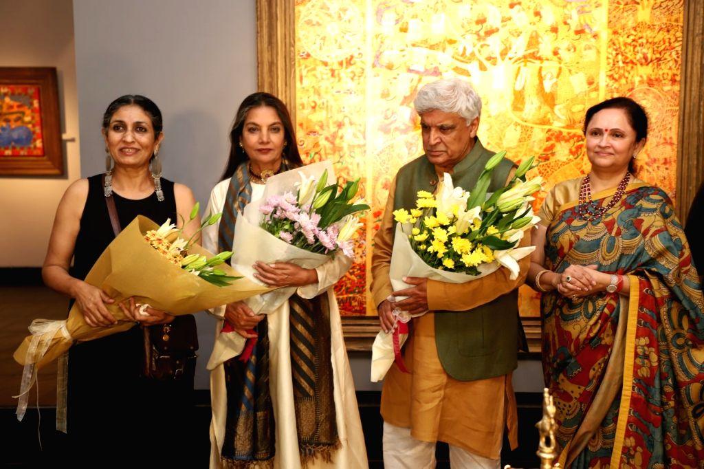 Actors Javed Akhtar and Shabana Azmi during a art show in Mumbai on April 4, 2018. - Javed Akhtar and Shabana Azmi