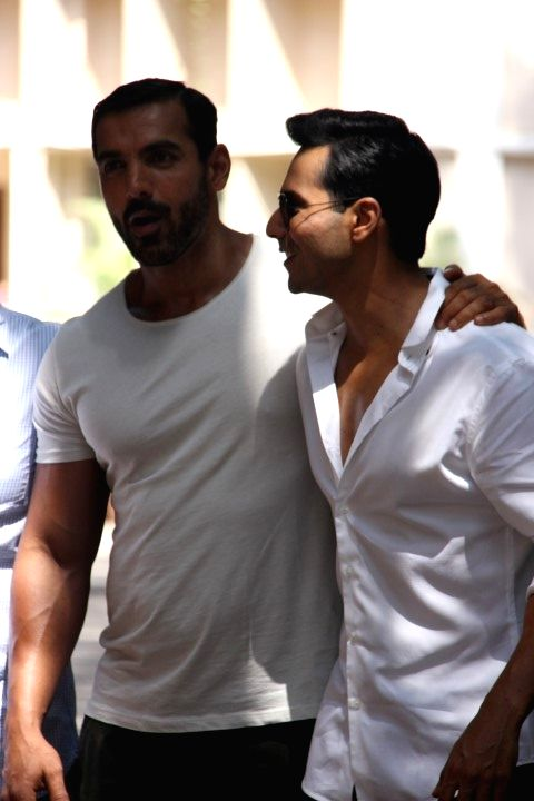 Actors John Abraham and Varun Dhawan during the wrap up of shooting of film Dishoom in Mumbai on April 18, 2016. - John Abraham and Varun Dhawan