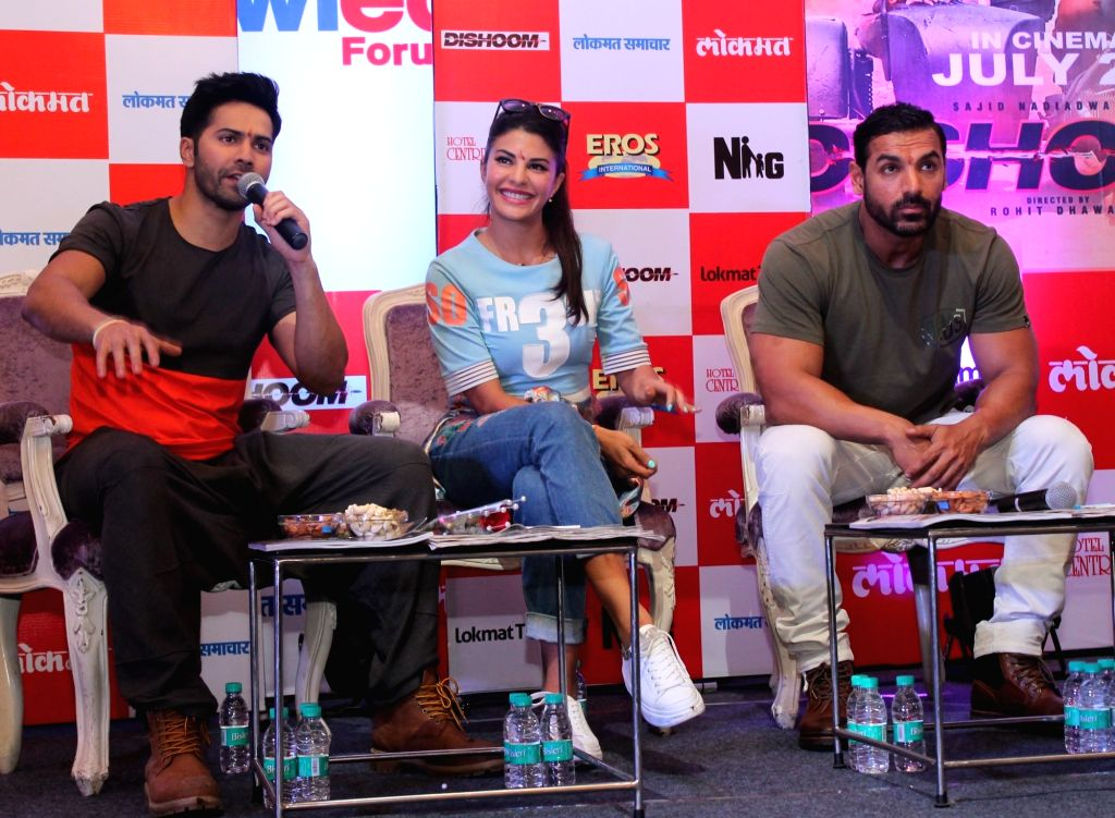 "Actors John Abraham, Jacqueline Fernandez and Varun Dhawan  during a press conference to promote their upcoming film ""Dishoom"" in Nagpur, on June 24, 2016. - John Abraham, Jacqueline Fernandez and Varun Dhawan"