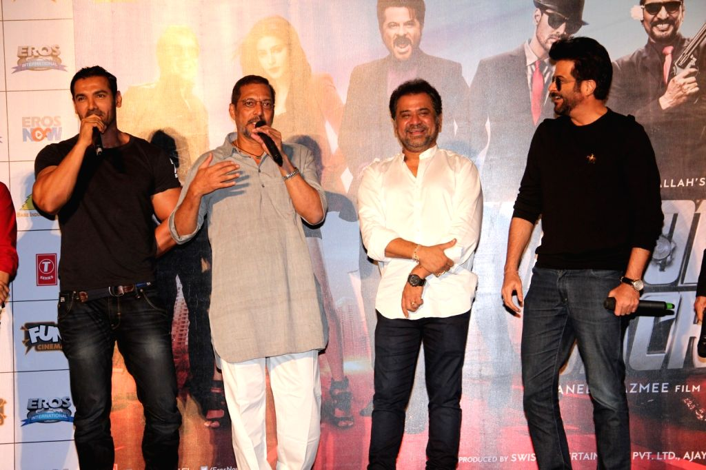 Actors John Abraham, Nana Patekar and Anil Kapoor with filmmaker Anees during the launch of title track song of film Welcome Back in Mumbai on Aug 8, 2015. - John Abraham, Nana Patekar and Anil Kapoor