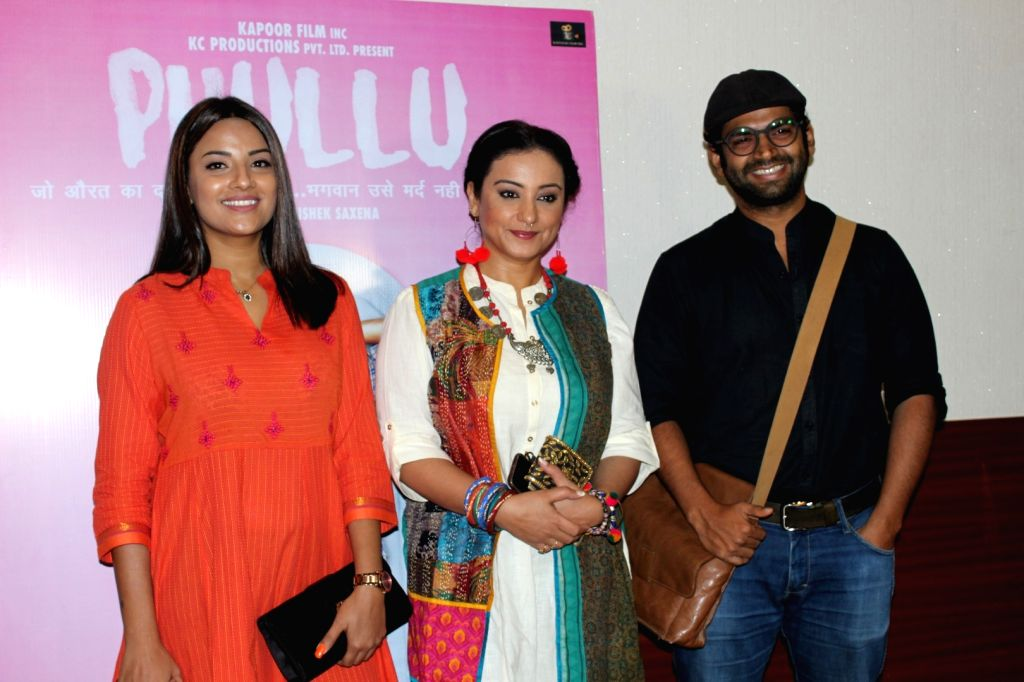 Actors Jyoti Sethi, Divya Dutta and Sharib Hashmi during the trailer launch of film Phullu in Mumbai, on June 1, 2017. - Jyoti Sethi, Divya Dutta and Sharib Hashmi
