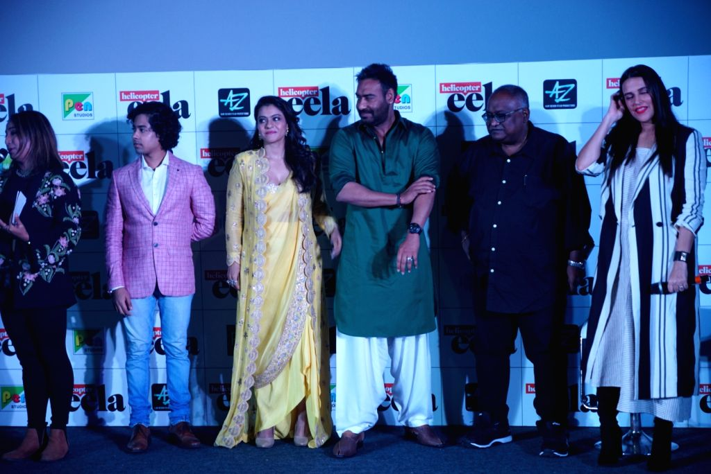 """Actors Kajol, Ajay Devgn and Neha Dhupia at the trailer launch of upcoming film """"Helicopter Eela"""" in Mumbai, on Aug 5, 2018. - Kajol, Ajay Devgn and Neha Dhupia"""