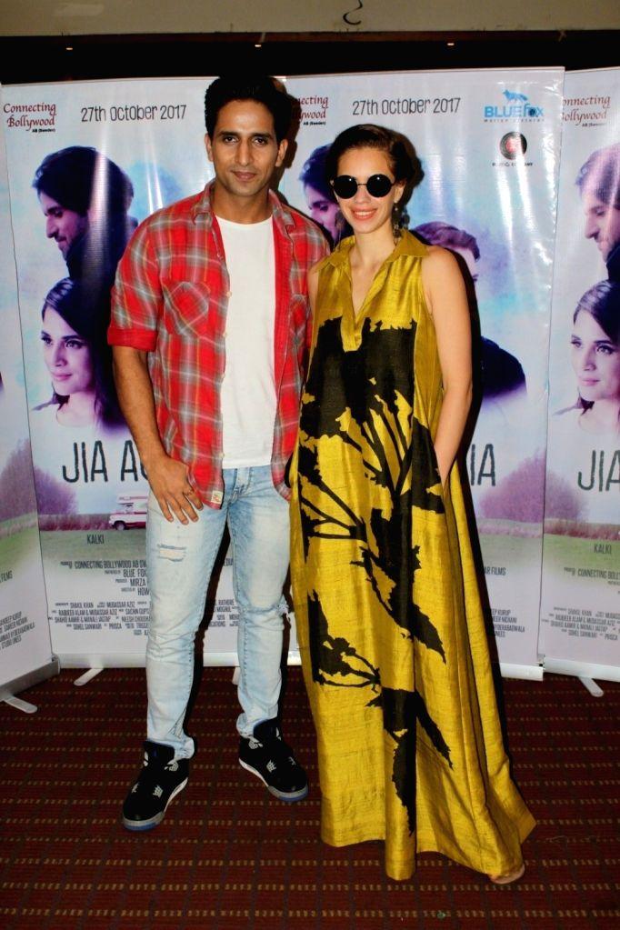 "Actors Kalki Koechlin and Arslan Goni during the promotion of their upcoming film ""Jia Aur Jia"" in Mumbai on Oct 12, 2017. - Kalki Koechlin and Arslan Goni"
